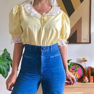Vintage 70s puff sleeve peasant blouse L